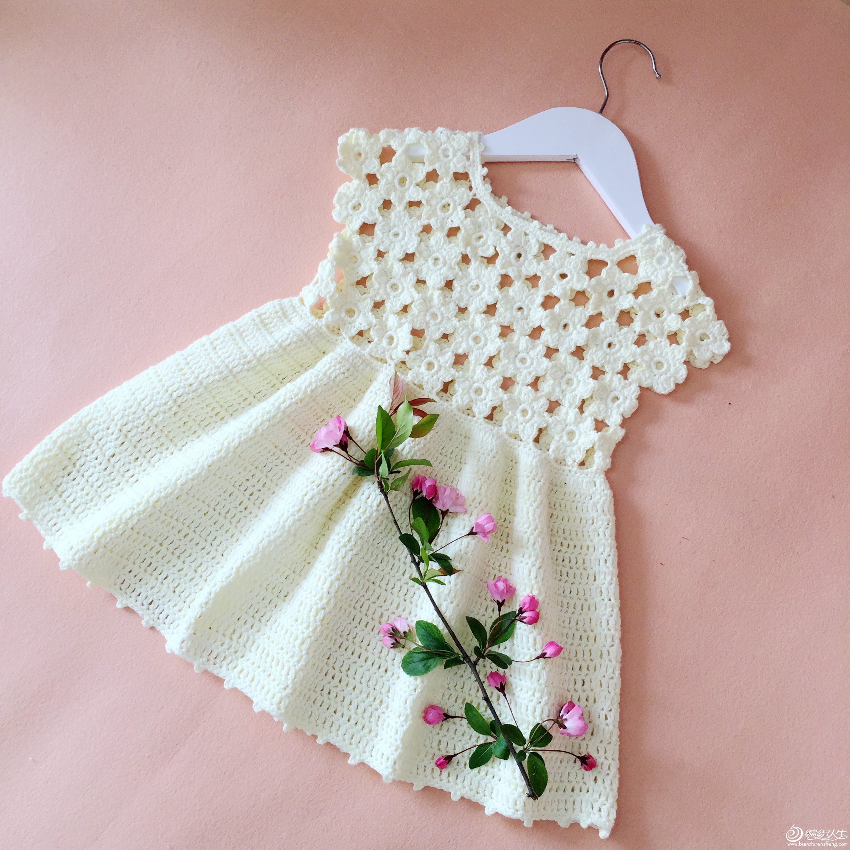 编织教程 | 白色钩花宝宝背心裙附视频教程和图解——