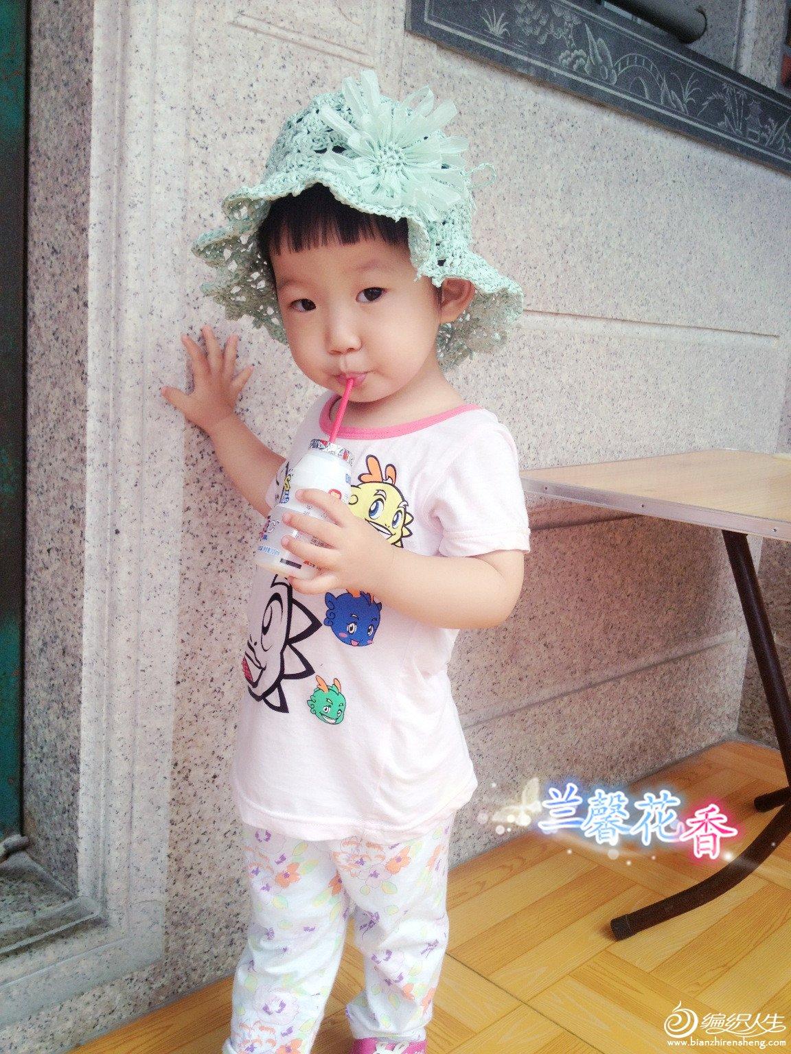 水蓝色宝宝夏季遮阳帽