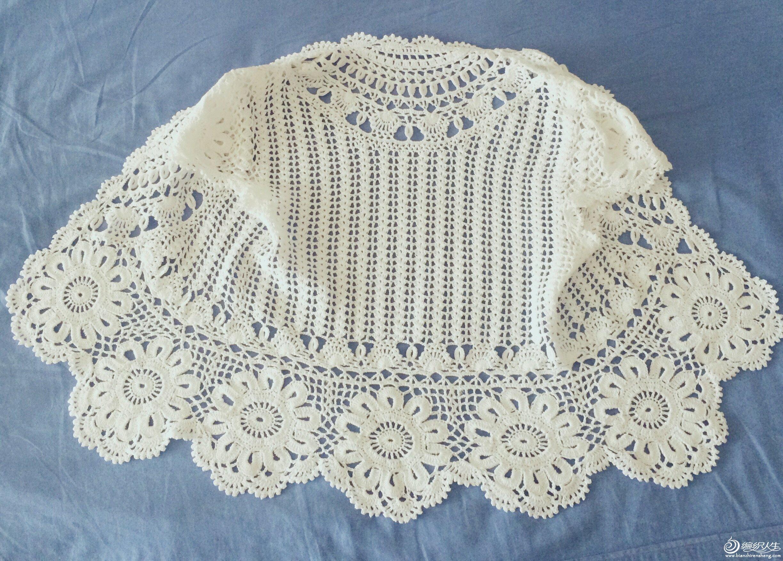 素颜 白色西班牙蕾丝拼花开衫 新增真人秀 钩针编织作品秀