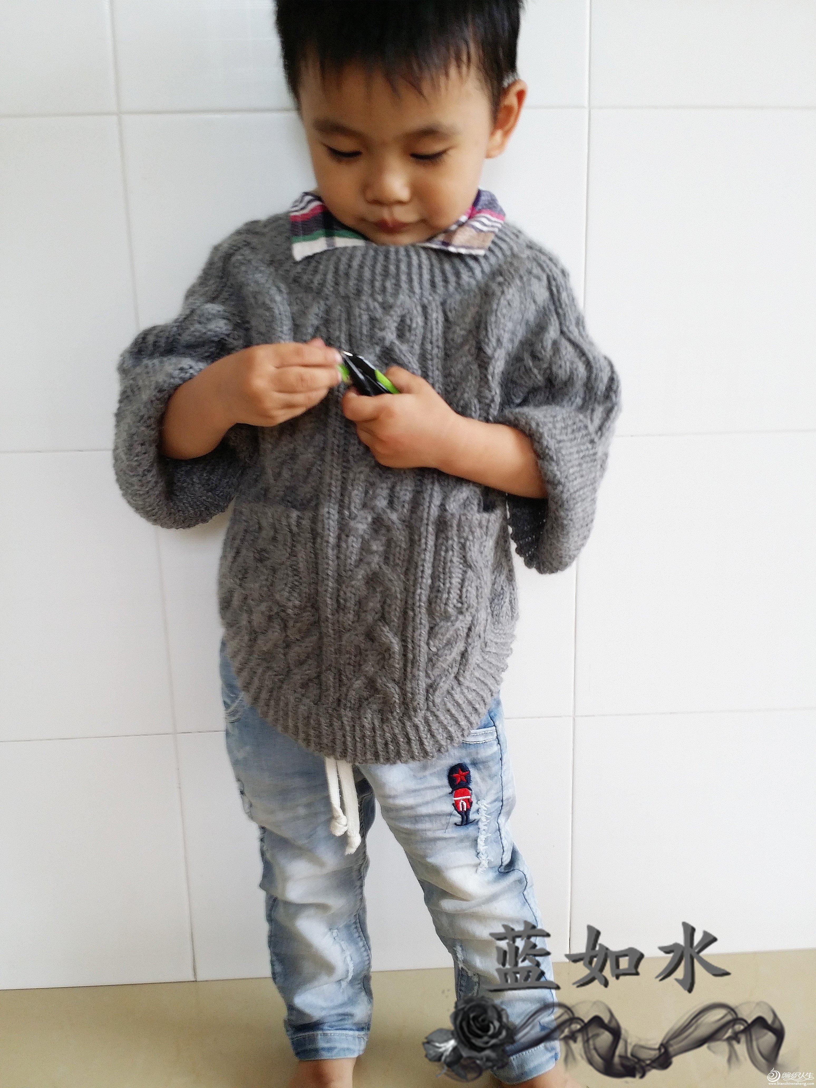 男童斗篷式套头毛衣