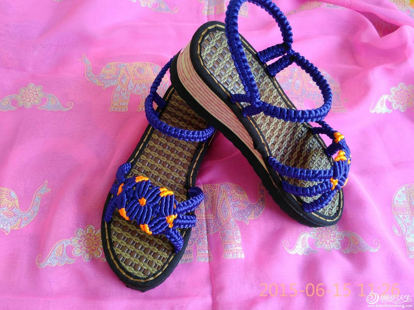 手工编织中国结拖鞋,凉鞋