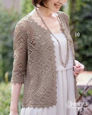 【菲尔手作】花光月影---中袖网格开衫 - 菲尔 - 菲尔的编织博客