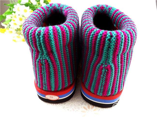 织毛线棉鞋的福子图案花样