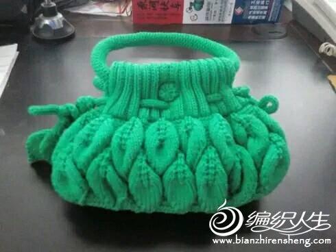 自己手工编织毛线钩包女式手提包