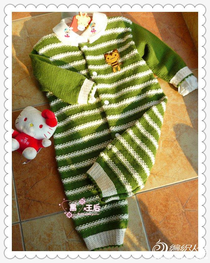 条纹棒针宝宝连衣衣