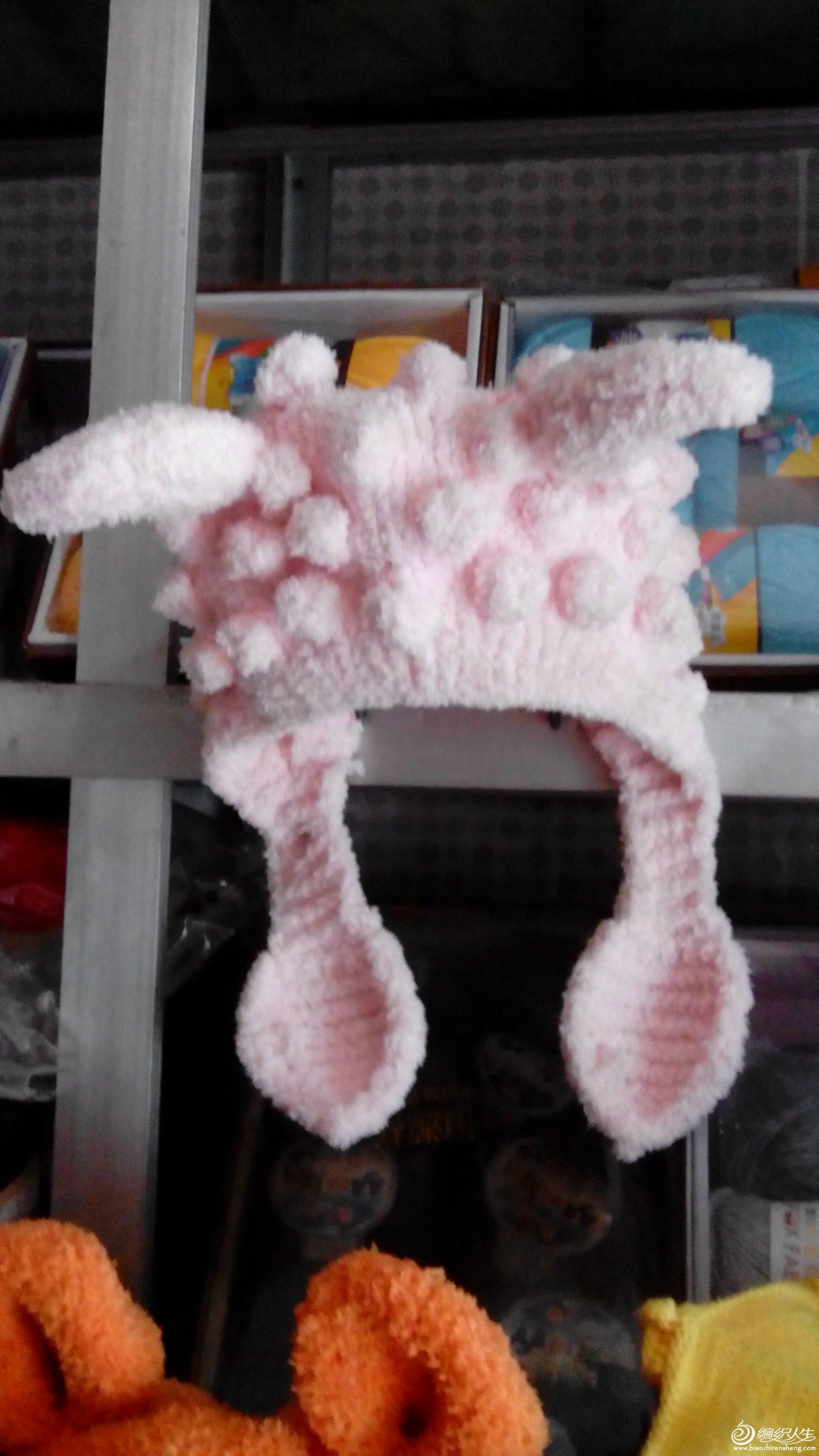 求助,喜羊羊帽子 3股绒绒线 棒针编织方法
