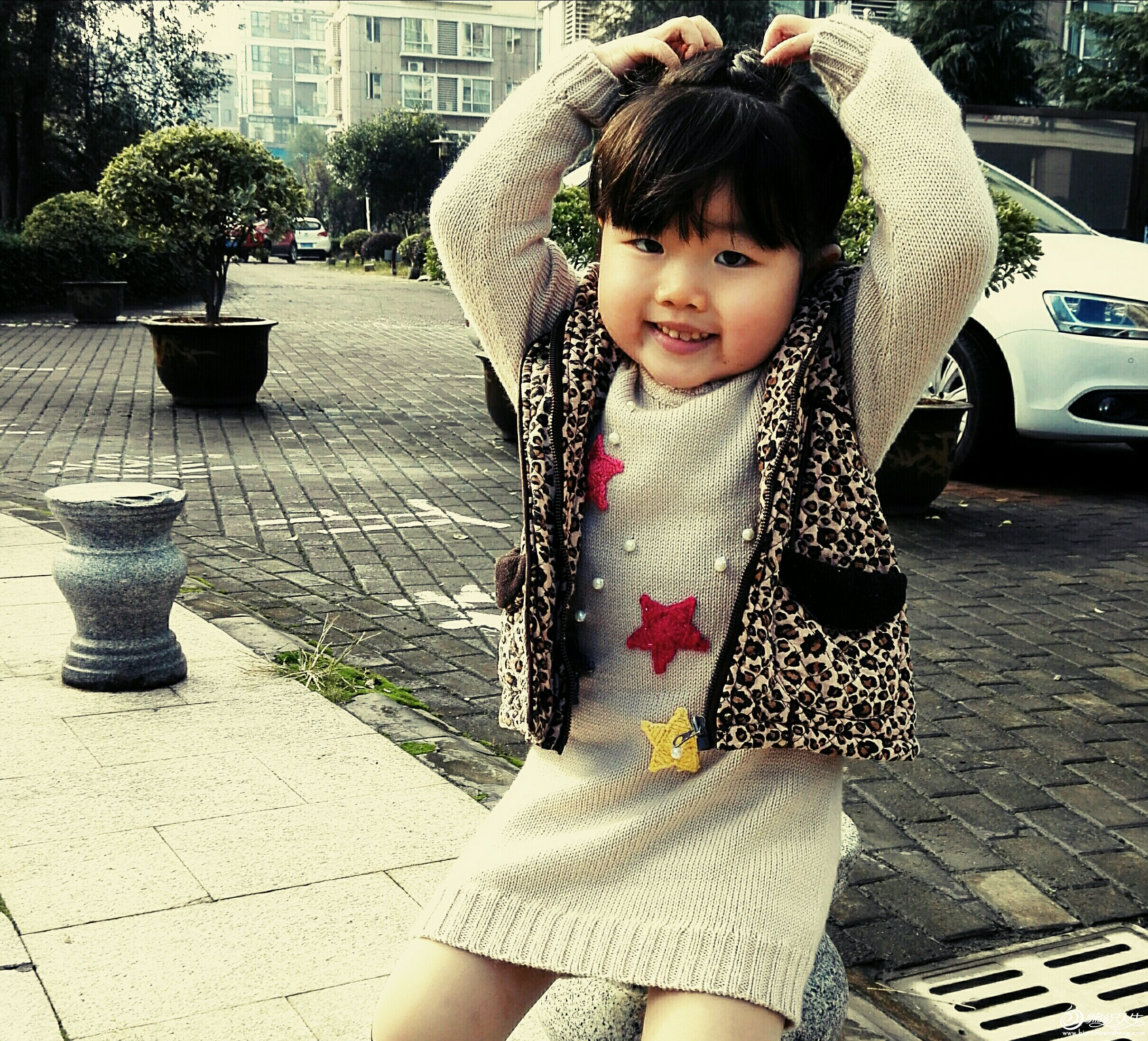女童星星图案长款毛衣