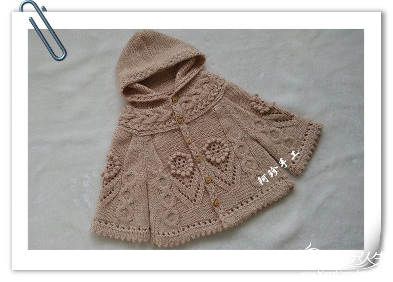 女童连帽斗篷式开衫