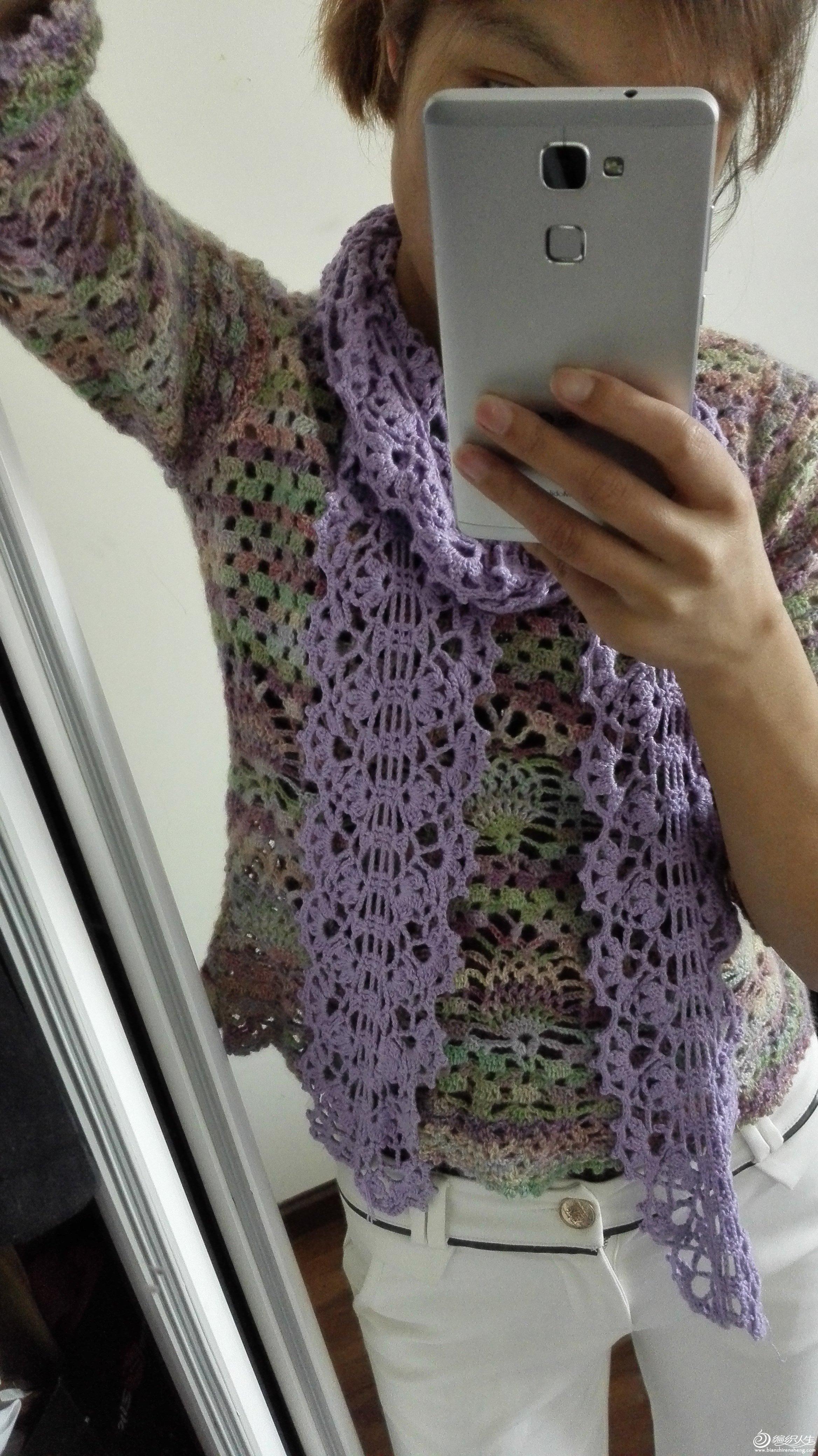 紫恋 简单好钩的钩针蕾丝花样围巾