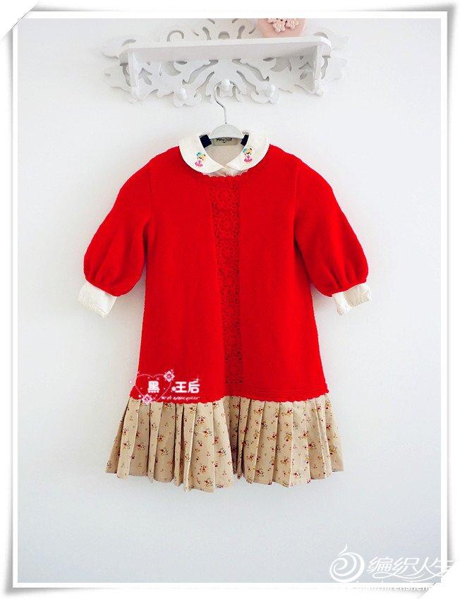 大红色女童钩花棒针毛衣