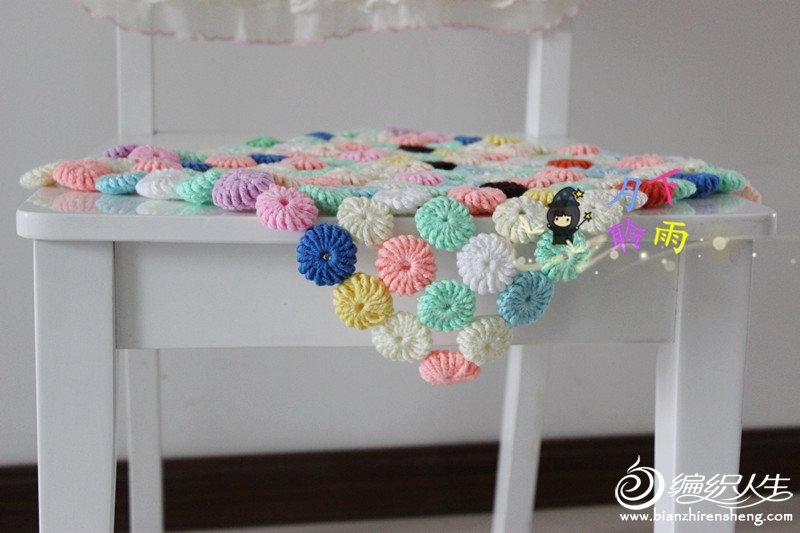 马卡龙糖果色钩针小垫 零线利用钩餐椅垫