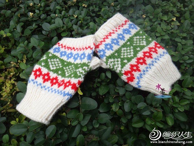 圣诞风格提花手套