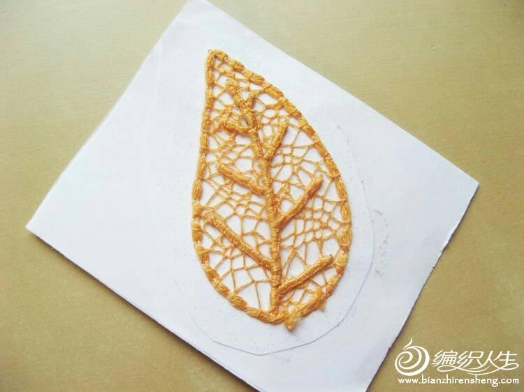 有趣的树叶 可以做书签用的毛线diy镂空树叶
