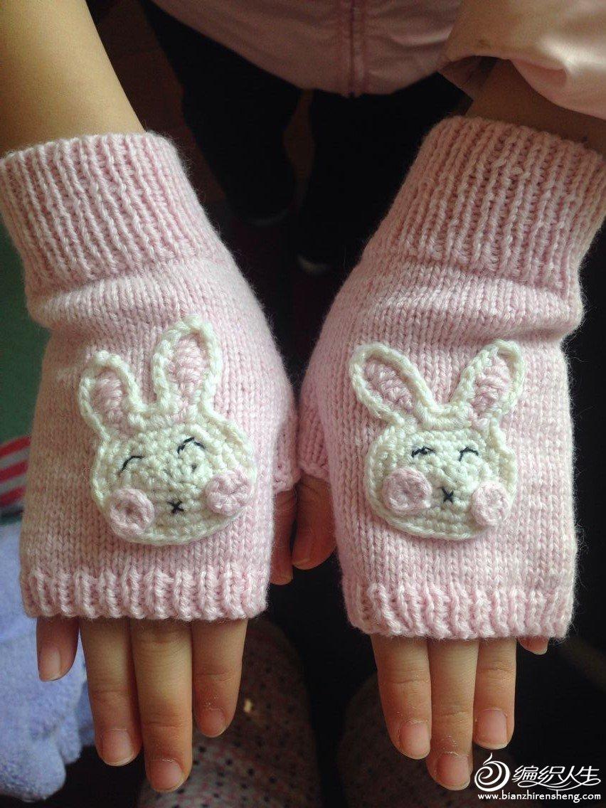 儿童无指棒针小兔手套