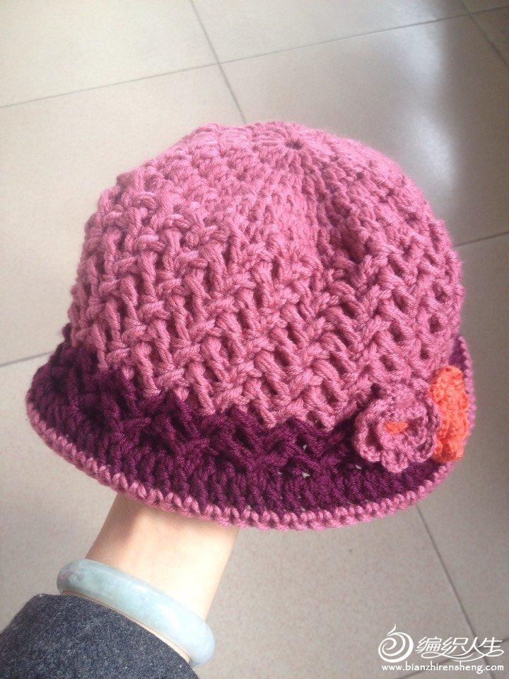 美丽诺羊毛钩针中老年帽子