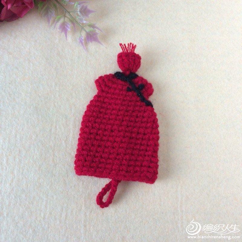 钩针旗袍造型钥匙包