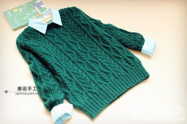 男孩棒针波纹图案毛衣