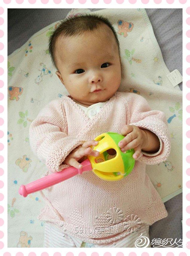 宝宝粉色毛线和尚服