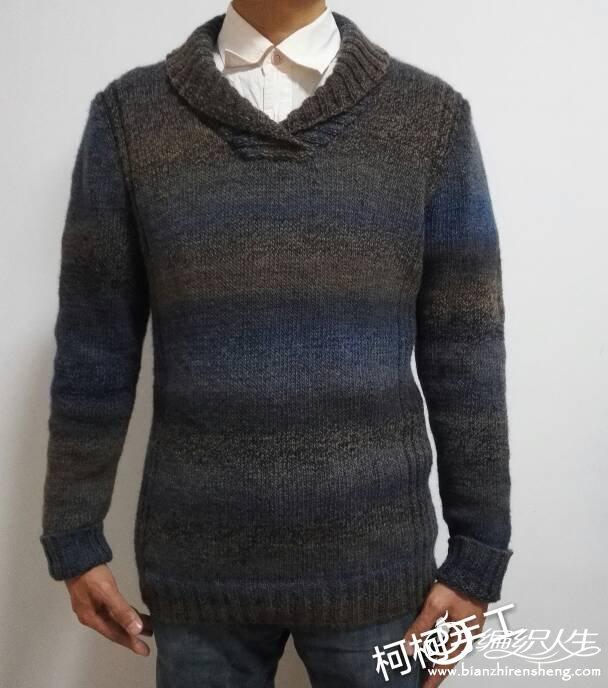 男士段染手工编织青果领毛衣