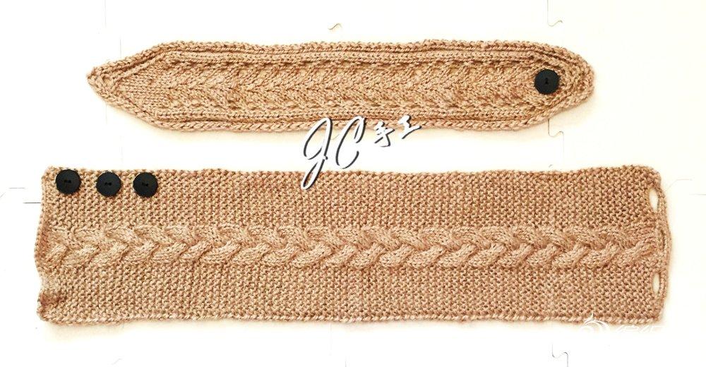 麦色棒针围巾发带