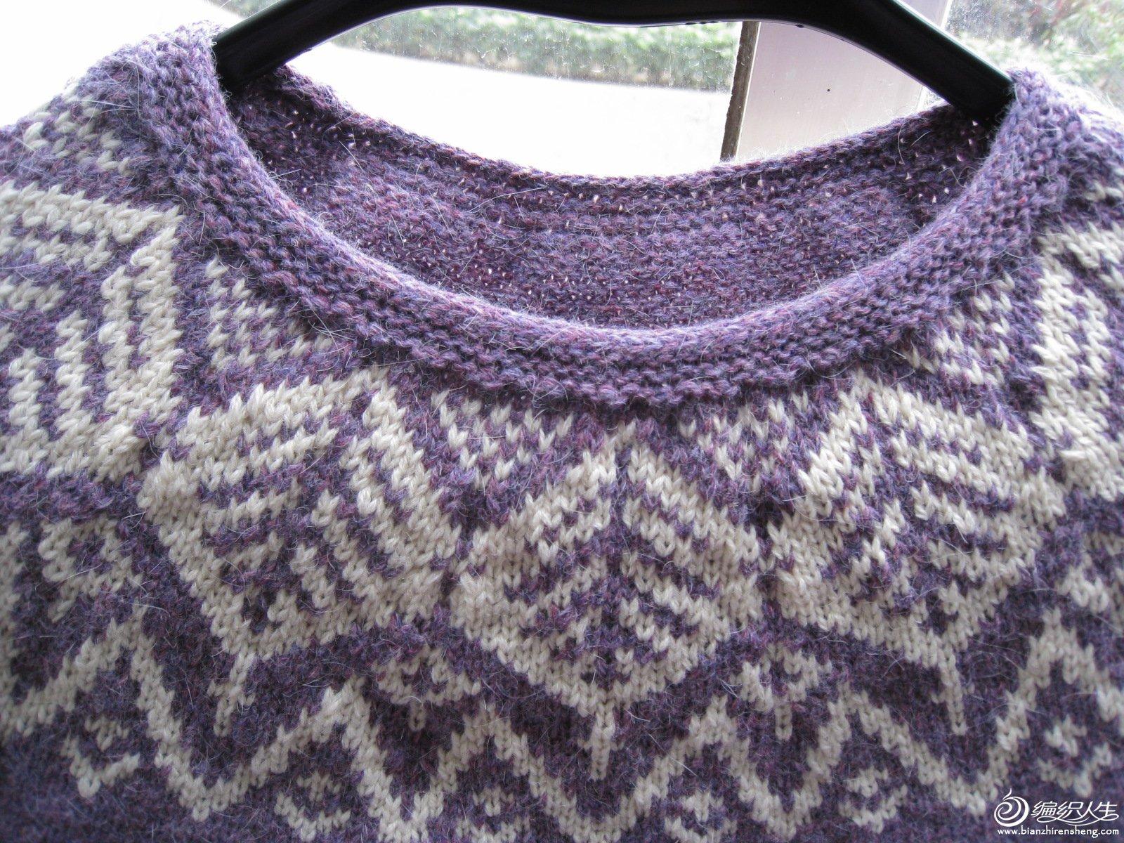 若然 毛线球8棒针从下往上织圆肩叶子提花毛衣-编织