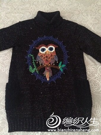 儿童猫头鹰图案毛衣