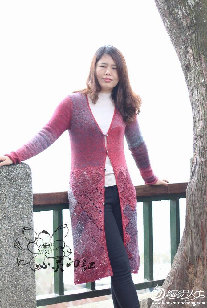 钩织结合长款开衫毛衣