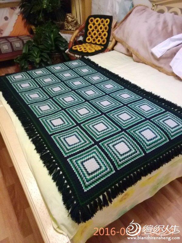 方格钩针毯子