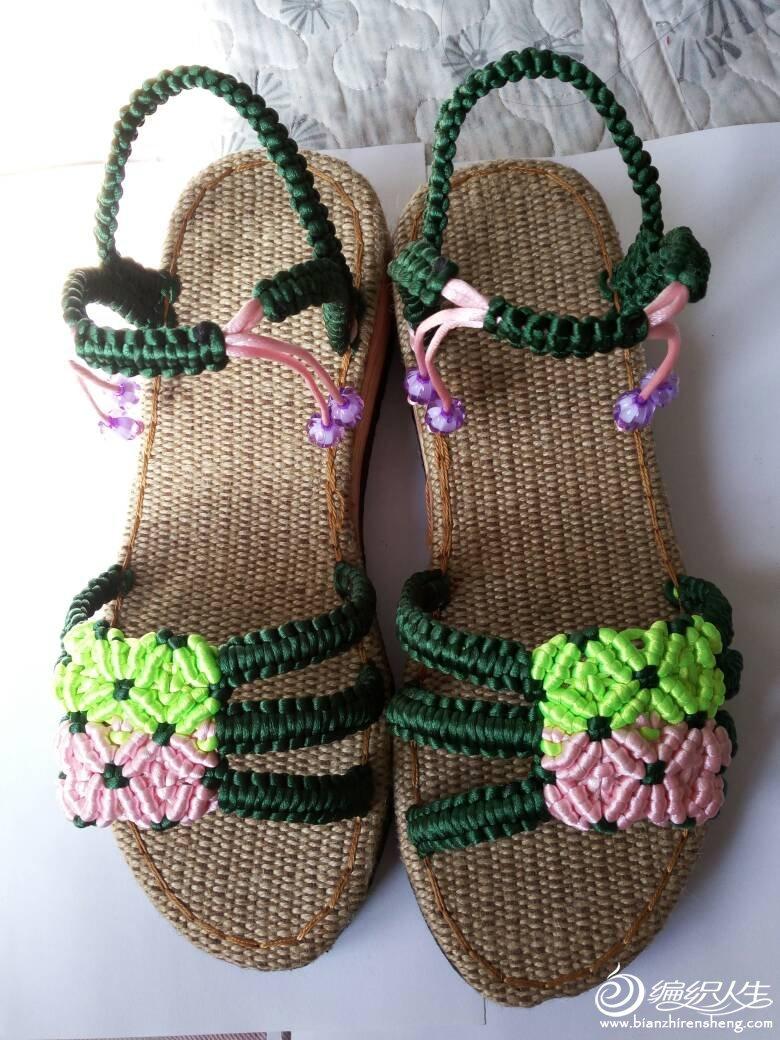 中国结手工编织凉鞋拖鞋图片