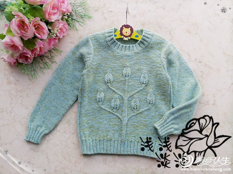 女童叶子花毛衣