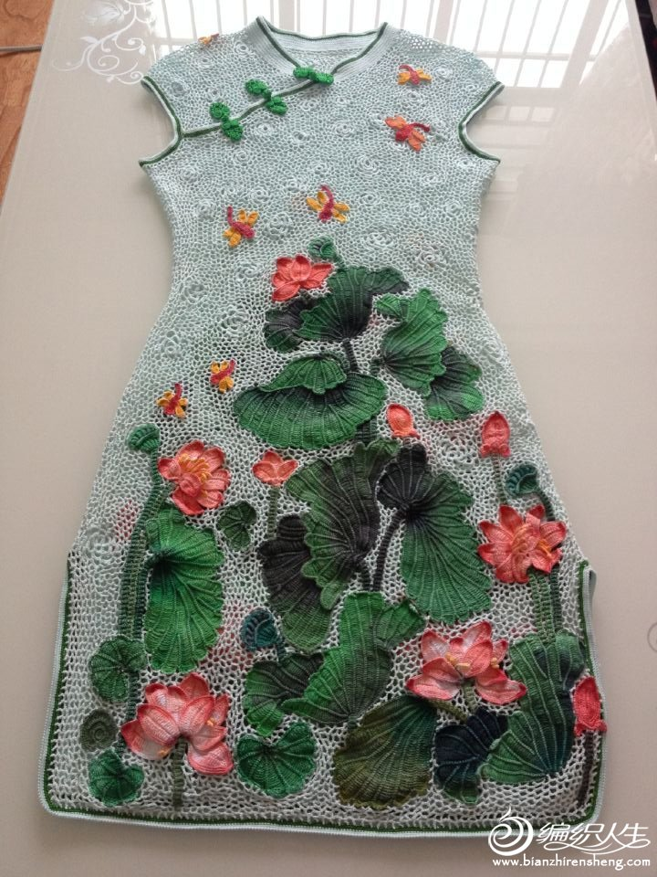 中式钩针旗袍裙