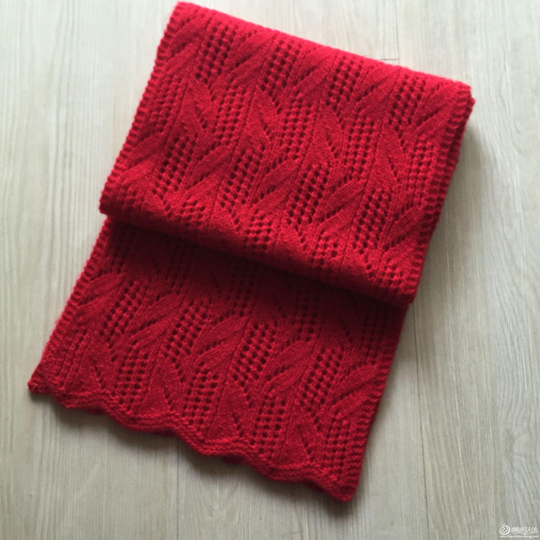 大红色棒针围巾