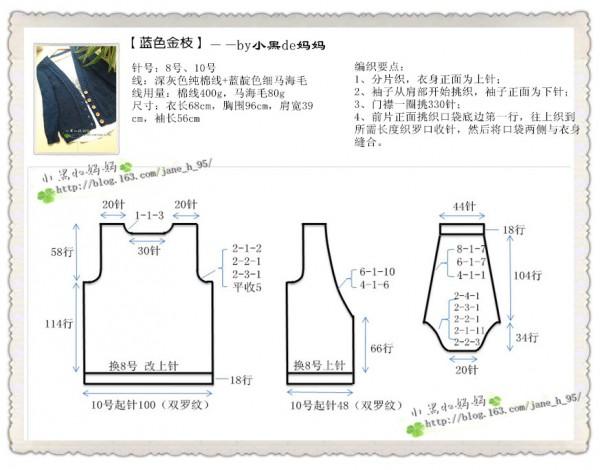 [开衫] 《亮亮织吧》群作业之9——蓝色金枝【小黑妈妈201613】 - yn595959 - yn595959 彦妮