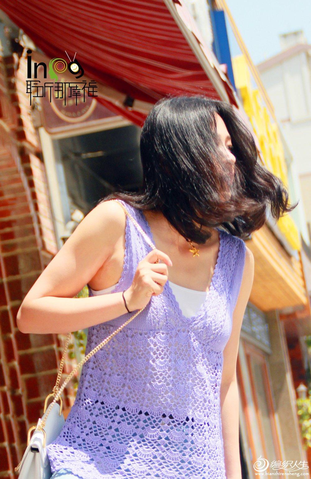 钩织结合蕾丝背心