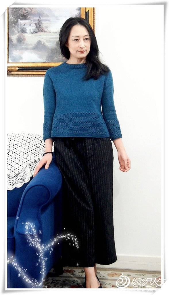 女士棒针立领毛衣