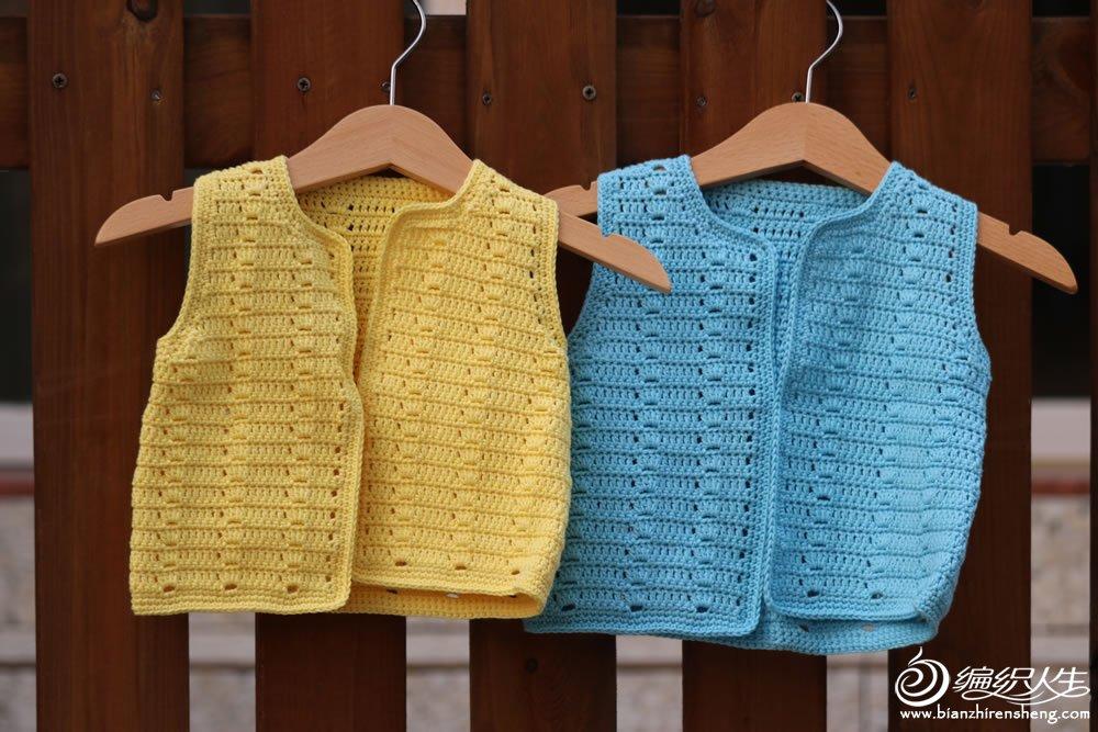 编织教程 新生儿手编毛衣款式之一天即可完成的云棉2钩针宝宝开襟马甲