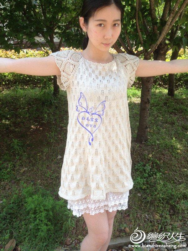 钩织结合短袖衫