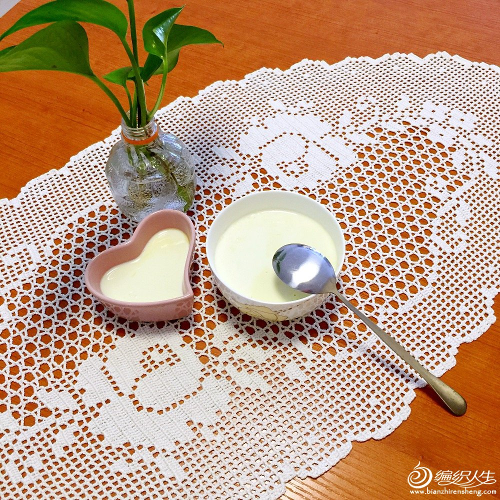 玫瑰花图案方格编椭圆形桌布