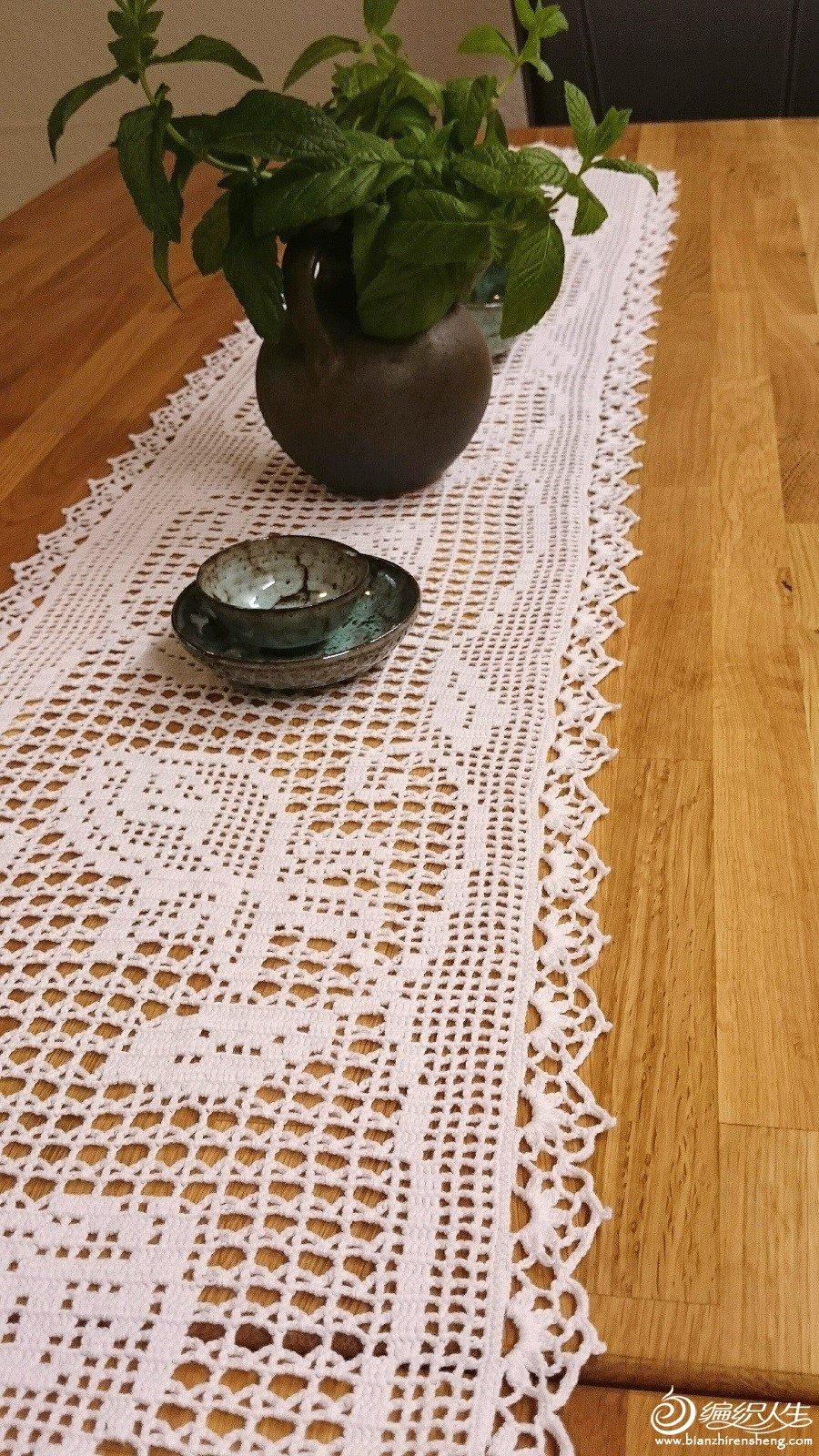 条形钩针桌布