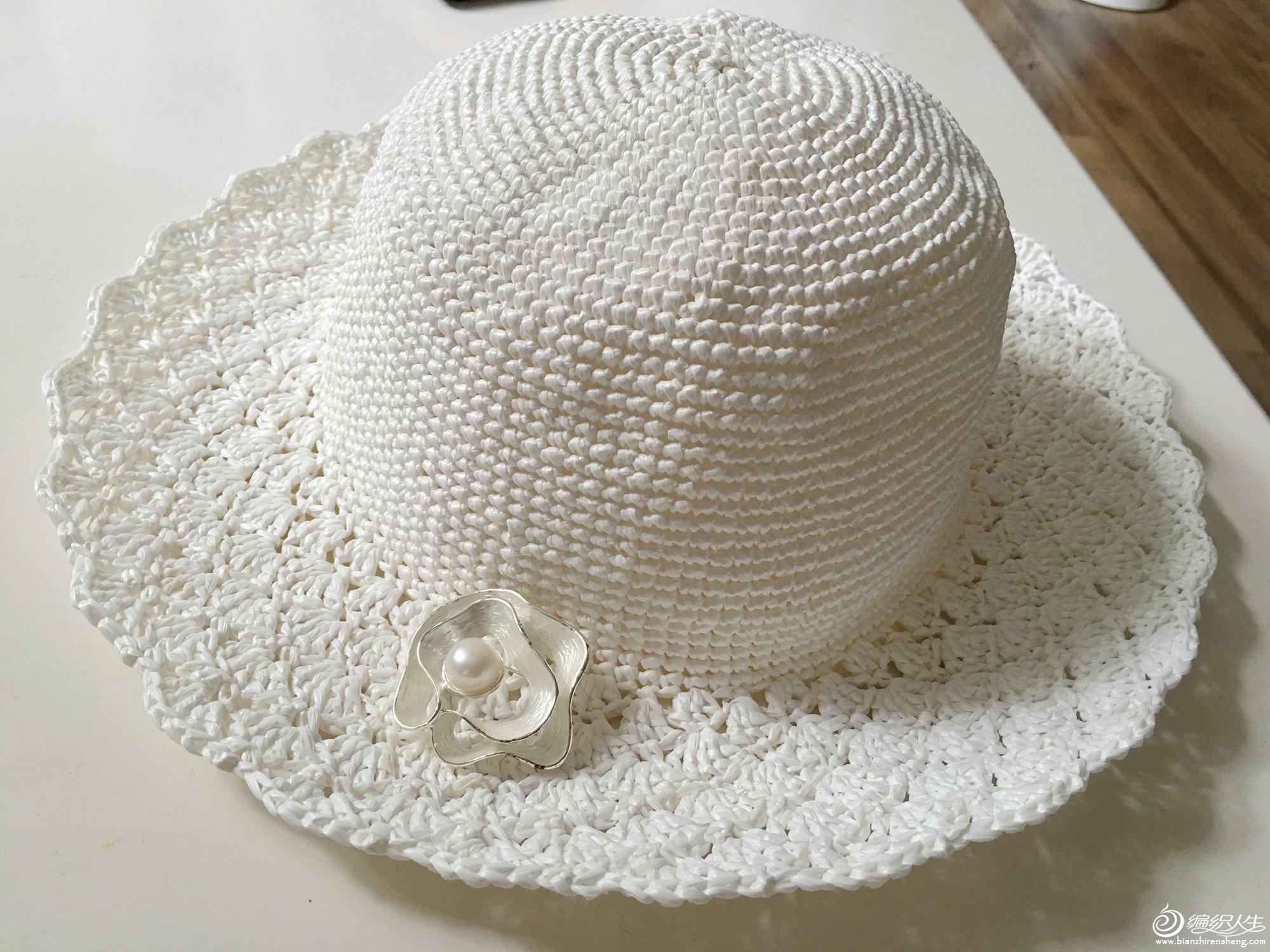 夏季钩帽之纯白钩针棉草帽子