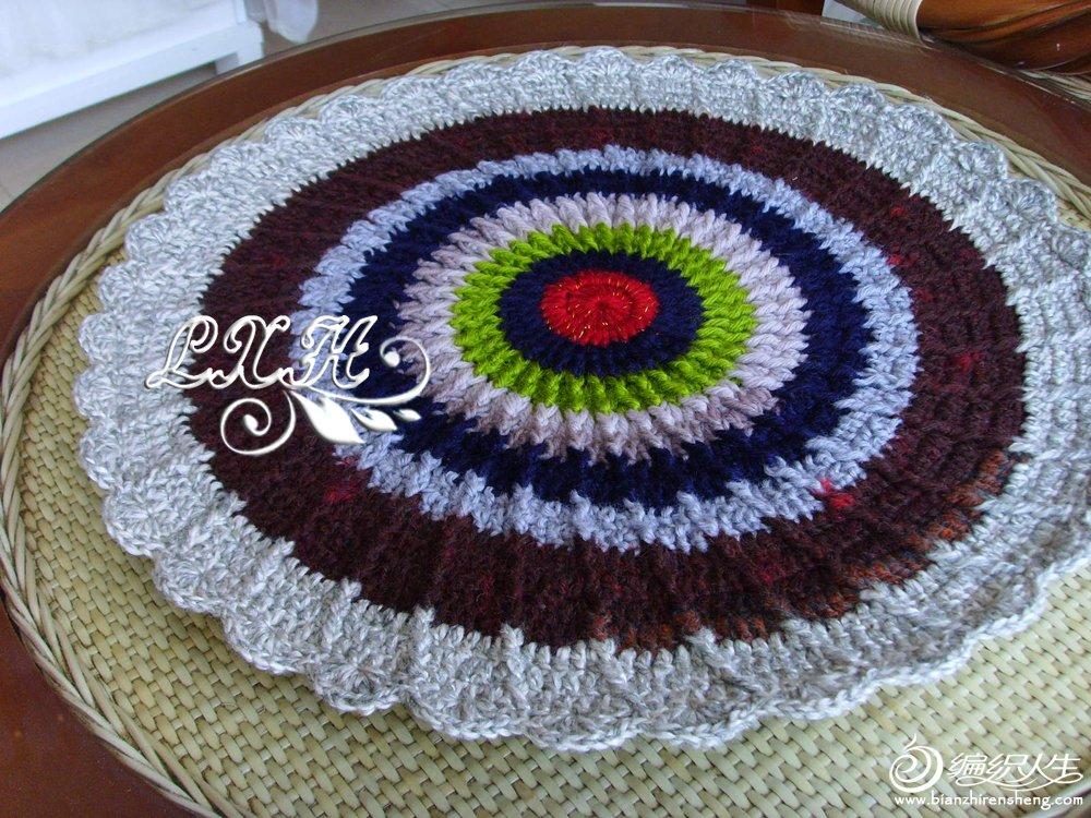 六角花與太陽花款鉤針圓形坐墊圖片