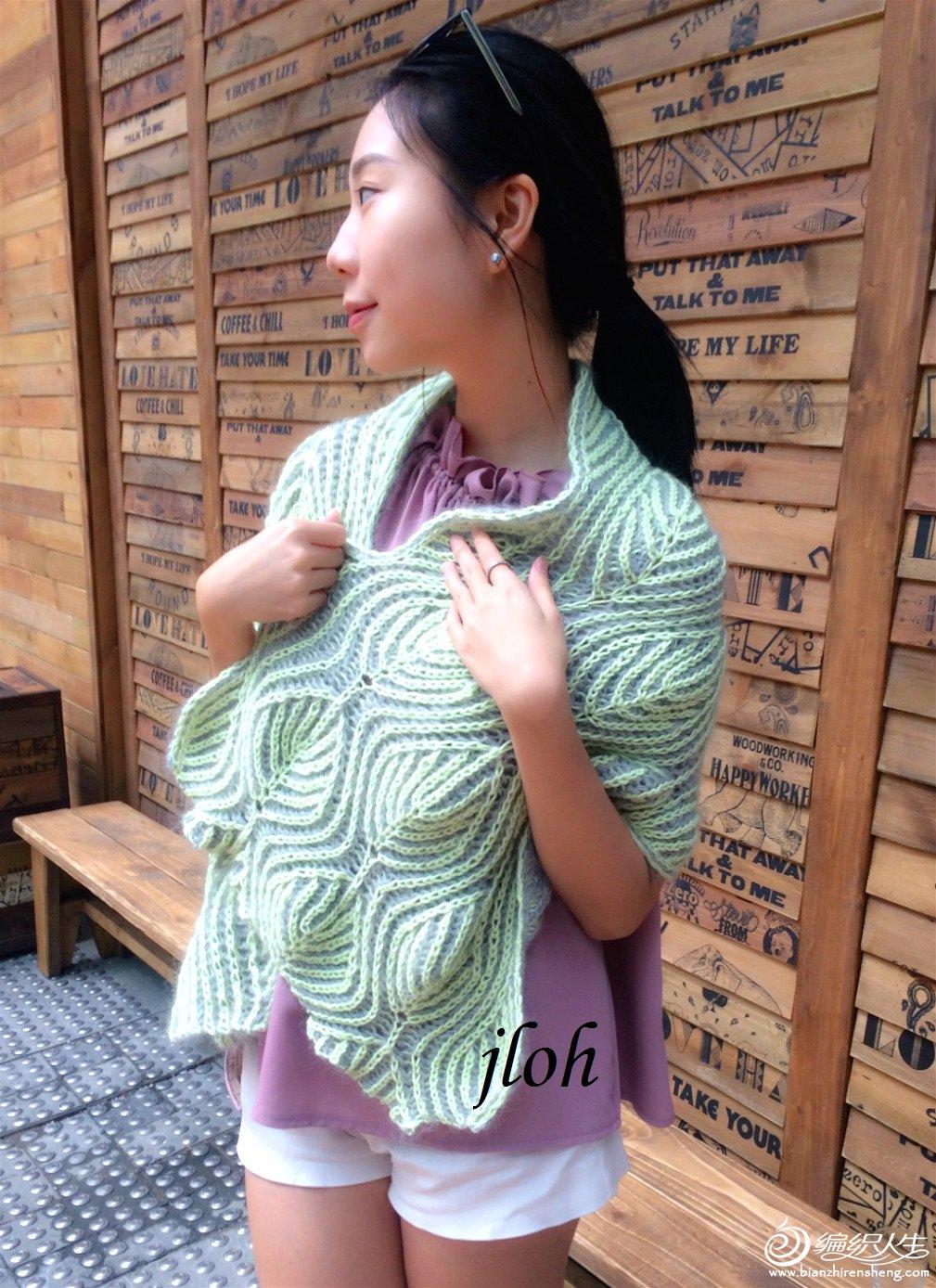 女士双面编织围巾