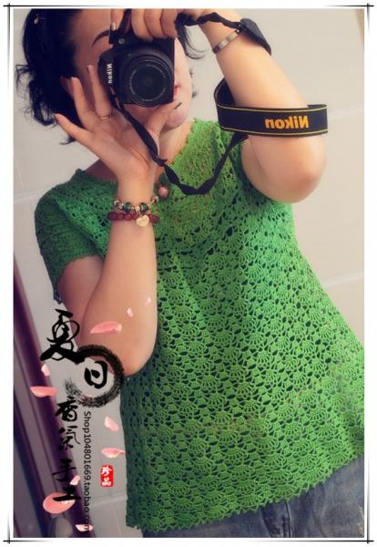 [套头衫] 夏日香气之--绿芜!(经典葱衣加紫薇花短袖套) - yn595959 - yn595959 彦妮