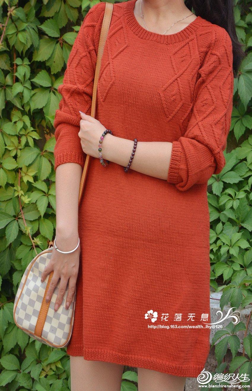 红色棒针女士连衣裙