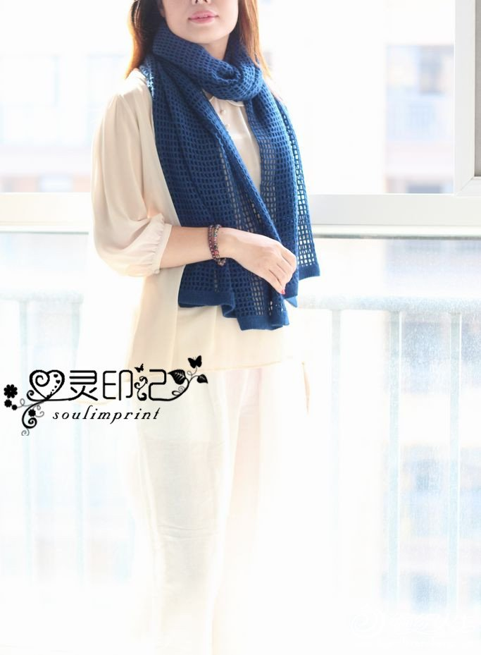钩织结合貂绒围巾
