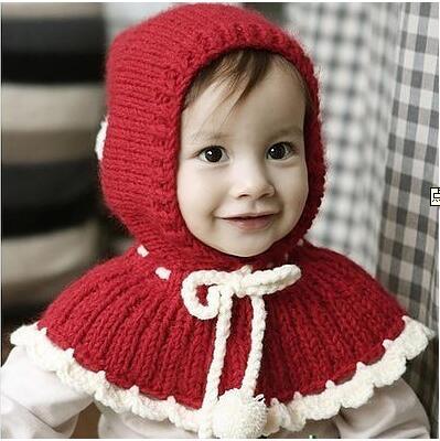 宝宝棒针连帽披肩