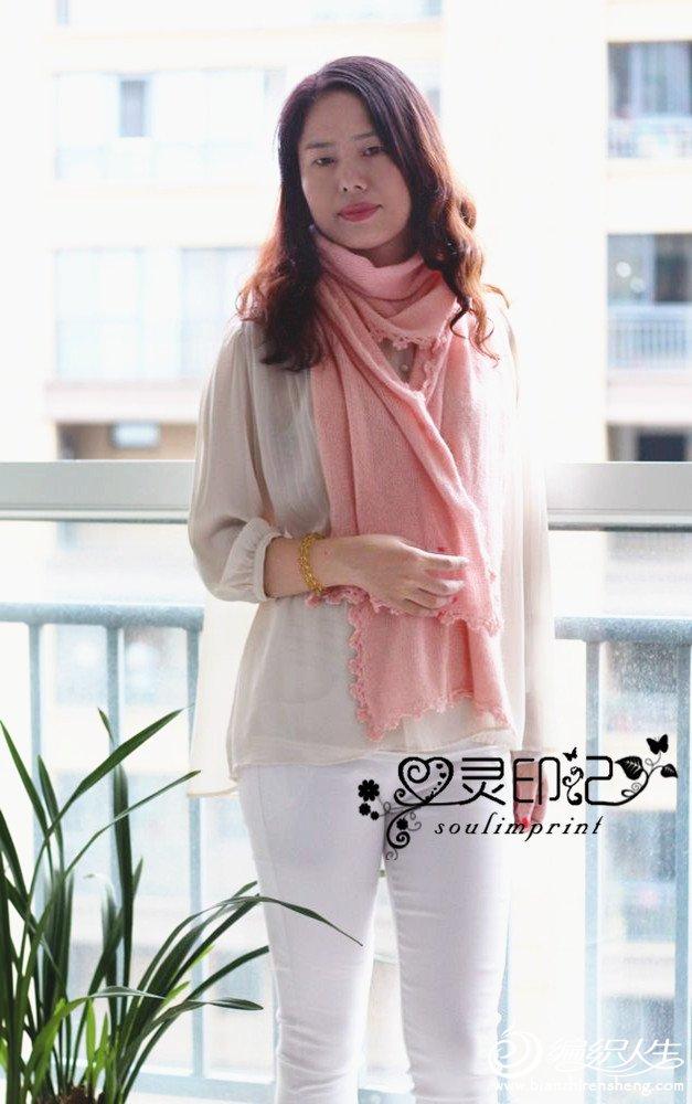 女士棒针羊绒围巾
