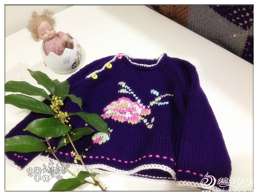 儿童玫瑰绣花图案棒针斜襟开扣套头毛衣-编织教程
