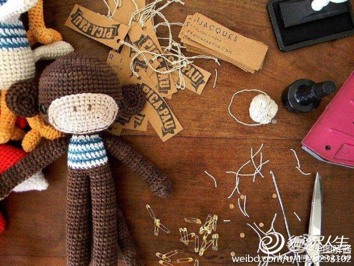 钩针猴玩具