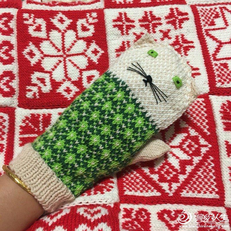 猫咪棒针提花手套